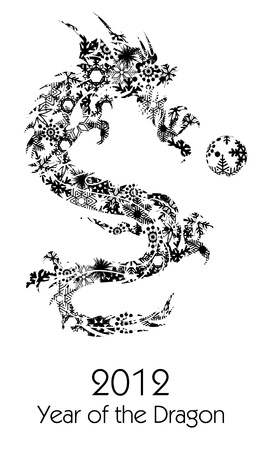 mythical festive: 2012 Flying Chinese Snowflakes Pattern Year of the Dragon with Ball on White Background Illustration Stock Photo