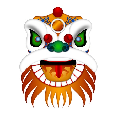 Chinese Lion Dance Colorful Ornate Head Illustration Isolated on White Background illustration