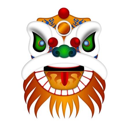 La danse du lion chinois Illustration coloré chef orné Isolé sur fond blanc Banque d'images - 11781526