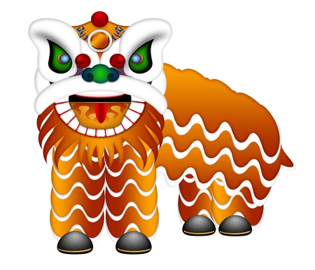 grand opening: Chinese Lion Dance Colorful Ornate Head and Body Illustration Isolated on White Background Stock Photo