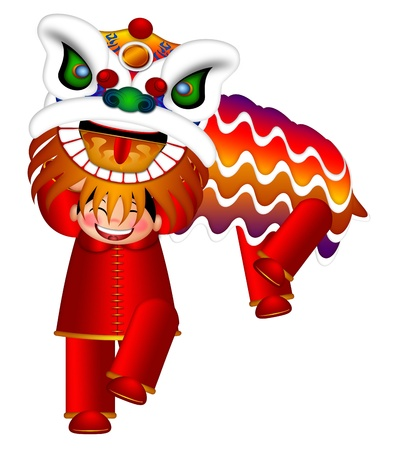 lion dance: Chinese Lion Dance Colorful Ornate Head and Body by Chinese Boys Illustration Isolated on White Background