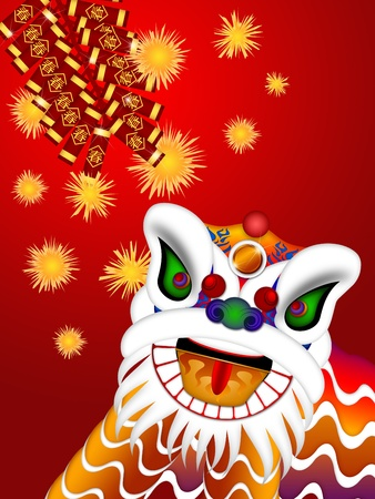 中国獅子舞カラフルな華やかな頭部および爆竹春本文イラストと赤の背景