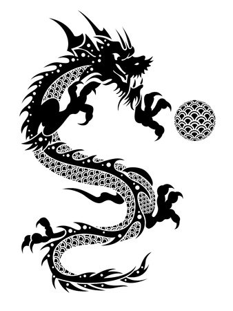 mythical festive: 2012 Flying Chinese New Year of the Dragon with Ball and Fish Scales on White Background Illustration