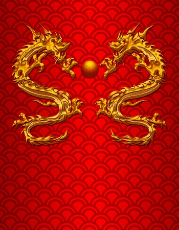 mythical festive: Pair of Chinese New Year Metallic Dragons on Scales Pattern Red Background Stock Photo