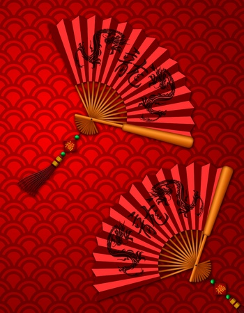 Chinese Fans with Dragon Text Calligraphy and Prosperity Word on Tag on Red Scales Background Illustration Stock Photo