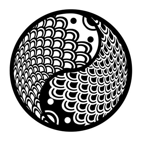 Chinesische Paar Fischen in Yin-Yang-Kreis Illustration Eternity Black and White Clip Art Standard-Bild - 11781486