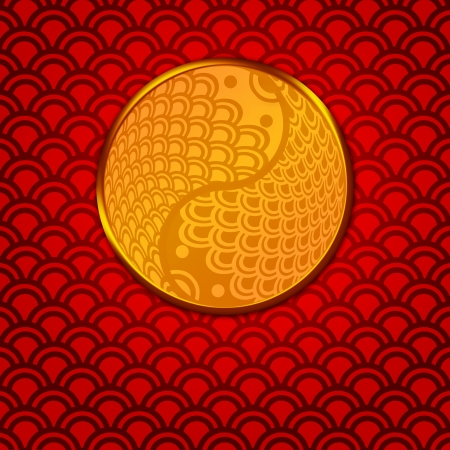 auspicious: Chinese Pair of Fish in Yin Yang Eternity Circle Illustration on Red Pattern Background