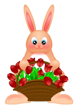 Happy Easter Bunny Rabbit Holding a Basket of Red Tulips Flowers Illustration Isolated on White Background illustration
