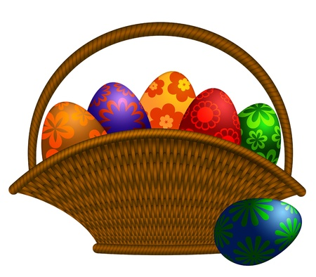 weaved: Weaved Basket of Happy Easter Day Colorful Floral Eggs Illustration Isolated on White Background