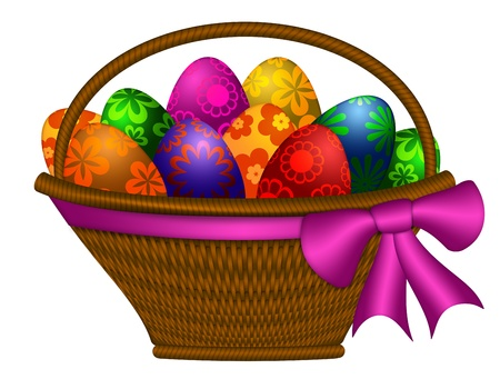 weaved: Weaved Basket of Happy Easter Day Colorful Floral Eggs with Bow Illustration Isolated on White Background