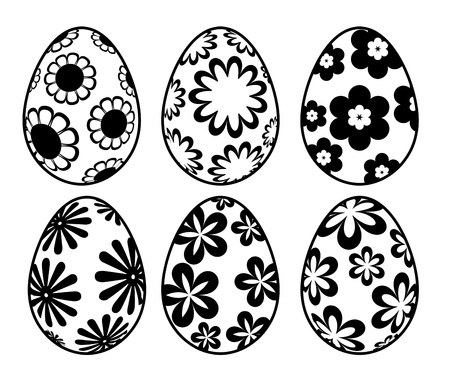 dozen: Six Black and White Happy Easter Day Eggs with Floral Designs Illustration Isolated on White Background