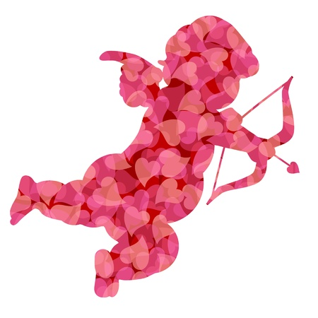 cupid: Cute Valentines Day Cupid Silhouette with Pink Pattern Hearts Illustration Isolated on White Background
