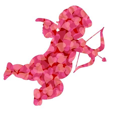 Lindo Día de San Valentín Cupido silueta con el modelo Rosa Ilustración Corazones Aislado sobre fondo blanco Foto de archivo