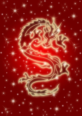 Zodiaco chino Celestial Flying Dragon Ilustraci�n en fondo rojo photo