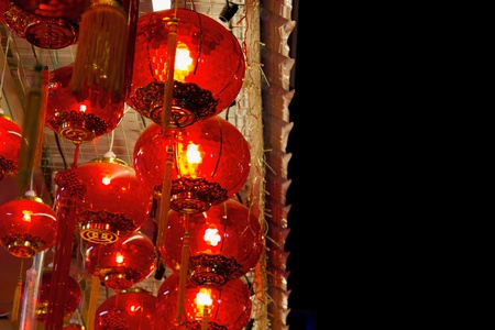 chinese lanterns: Red Lanterns Hanging on Ceiling in Chinatown for Chinese New Year Celebration Stock Photo