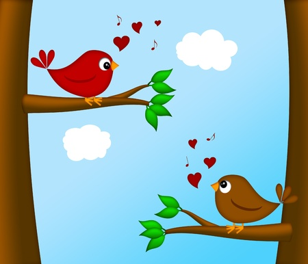 lovebirds: Valentines Day Lovebirds Pair Sitting on Tree Branch Chirping Illustration