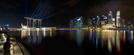esplanade: Singapore City Skyline by the Esplanade at Night Panorama