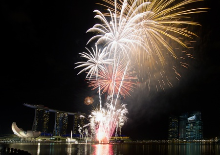 Fireworks Display Along Singapore River Esplanade with City Skyline