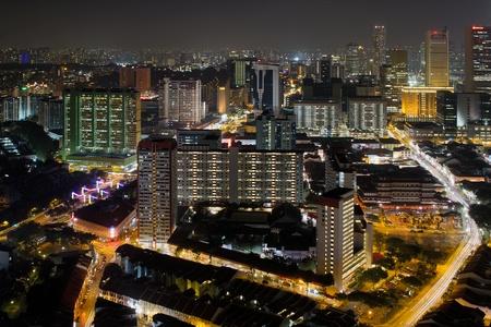 Singapore Chinatown Cityscape Night Scene with Light Trails Stock Photo - 12384019