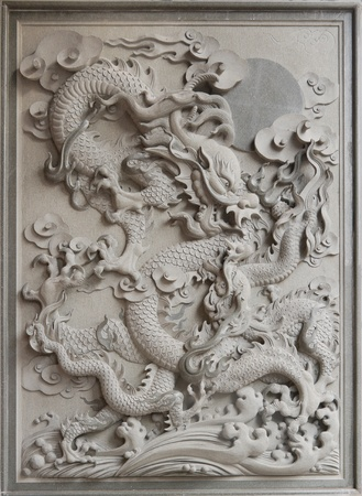 Chinese Dragon Granite Stone Carving on Temple Outside Wall photo