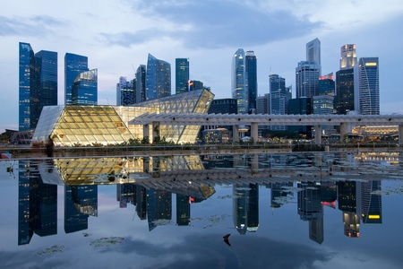 esplanade: Reflection of Singapore City Skyline on Marina Bay at Blue Hour