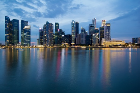 bay: Singapore City Skyline along Waterfront Esplanade at Blue Hour