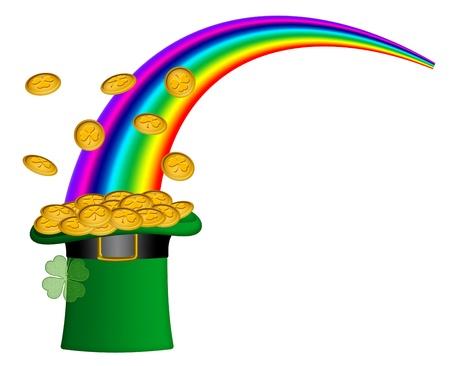Saint Patricks Day Hat of Gold with Shamrock Coins and Rainbow Illustration illustration