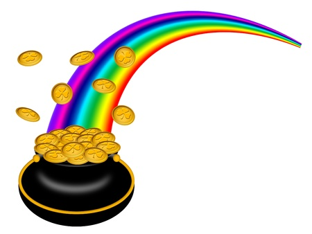 Saint Patricks Day Pot of Gold with Shamrock Coins and Rainbow Illustration Stock Photo