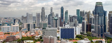 Singapore Cityscape with Central Business District and Chinatown View Panorama Stock Photo