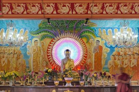 vihara: Buddha Altar Inside Mangala Vihara Buddhist Temple in Singapore