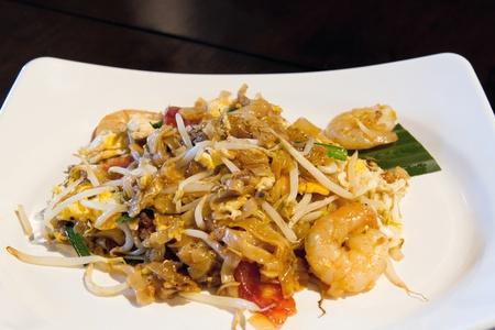 Penang Char Kway Teow Gebakken Wide Rice Noodles uit Maleisië Stockfoto