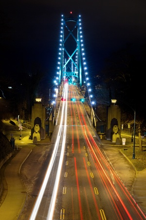Light Trails on Lions Gate Bridge in Vancouver BC Canada at Night photo