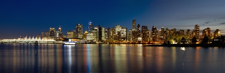 bc: Vancouver BC Canada Skyline along False Creek from Stanley Park at Blue Hour Panorama