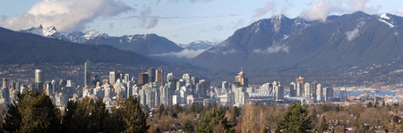 Vancouver BC Canada City Skyline and Snow Capped Mountains Panorama photo