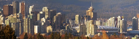 vancouver: Vancouver BC Canada City Skyline and Landscape Sunset Panorama