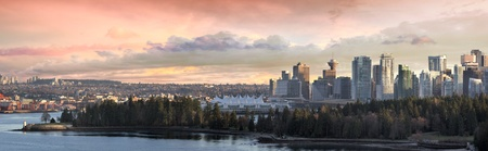 vancouver: Vancouver BC City Skyline and Stanley Park along Burrard Inlet Panorama