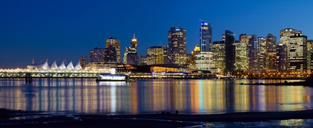 Vancouver BC Canada City Skyline Reflection at Blue Hour Panorama photo