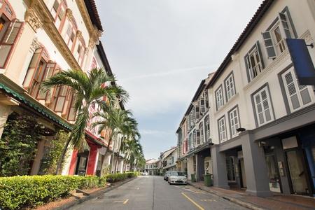 row houses: Singapore storici meglio conservati Row Houses Peranakan Archivio Fotografico