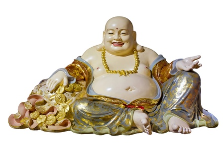 Big Belly Maitreya Cloth Bag Monk Buddha Statue Isolated on White Background photo