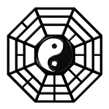 feng shui: Chinese Ba Gua Eight Sided Trigrams OCtagon Yin Yang Symbol Isolated on White Background Stock Photo