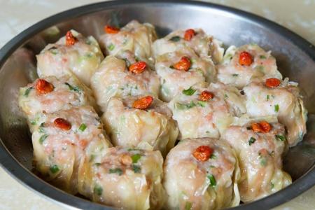 shu: Steamed Shu Mai Pork and Shrimp Dumplings Closeup