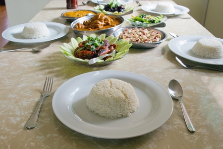 Home Cooked Traditional Southeast Asian Chinese Meal with Rice photo