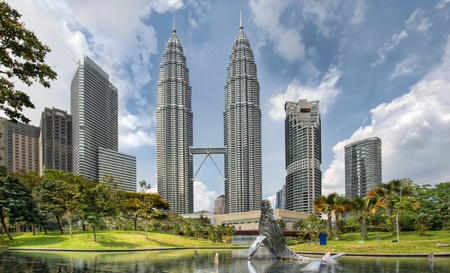 twin tower: Kuala Lumpur Malaysia City Skyline from KLCC Park by the Lake