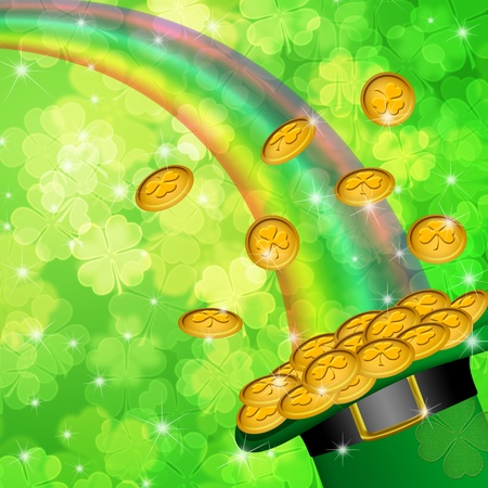 Pot of Gold and Rainbow Over Lucky Irish Shamrock Four-Leaf Clover Blurred Background Illustration Stock Photo