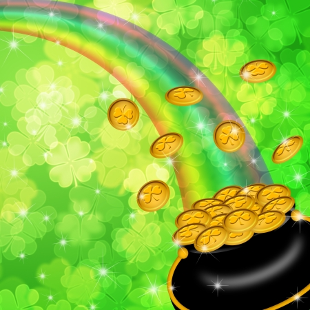 festive background: Pot of Gold and Rainbow Over Lucky Irish Shamrock Four-Leaf Clover Blurred Background Illustration Stock Photo