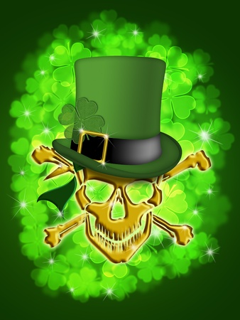 St Patricks Day Golden Skull with Leprechaun Hat with Shamrocks Bokeh Blurred Background Illustration
