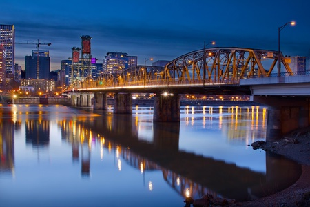 hawthorne: Hawthorne Bridge Over Willamette River In Portland Oregon Downtown Waterfront at Blue Hour Stock Photo