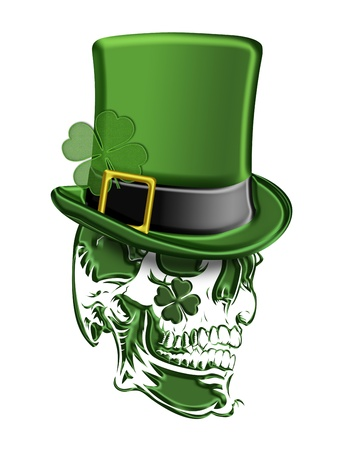St Patricks Day Green Skull with Leprechaun Hat with Shamrocks Isolated on White Background Illustration