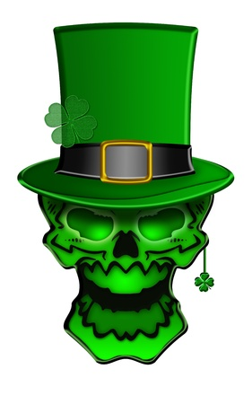 leprechaun background: St Patricks Day Green Skull with Leprechaun Hat with Shamrock Earrings Isolated on White Background Illustration