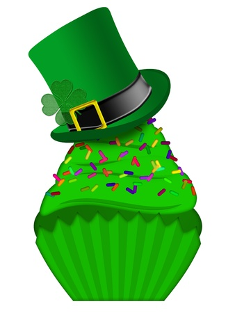 St Patricks Day Cupcake with Colorful Chocolate Chip Sprinkles and Leprechaun Hat Isolated on White Background photo